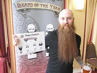 Yorkshire Beard Day Beard 2013 winner Michael Legge from Rotherham, South Yorks. Photo from Fownes Brewing Co.
