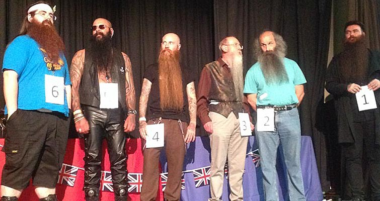 Some of the record-breaking number of competitors in the <em>Full Beard Over and Under 12 Inches</em> at BBMC 2014