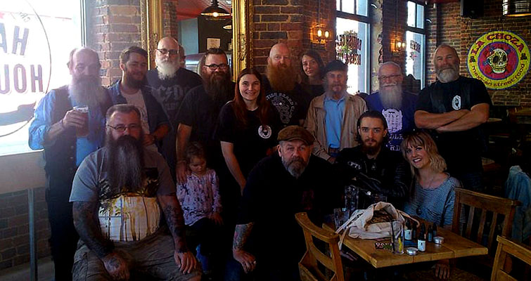 Group photo from The South Saxon Beardsmen meet at the Hare and Hounds, Brighton on August 31st