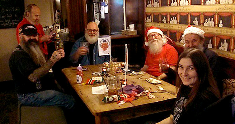 Drinkers and Diners at the South Saxon Beardsmen's Christmas Lunch Gathering in The Lord Nelson Inn, Brighton on November 23rd. Table 2 accommodated SSB members The Beard Barons of Brighton (@areyoubearface)