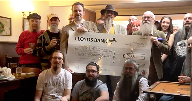 The Club donated £3000 to Prostate Cancer UK at the 6th Anniversary Gathering at The Queens Head, Chelmsford - Photo: Westminster University TV School