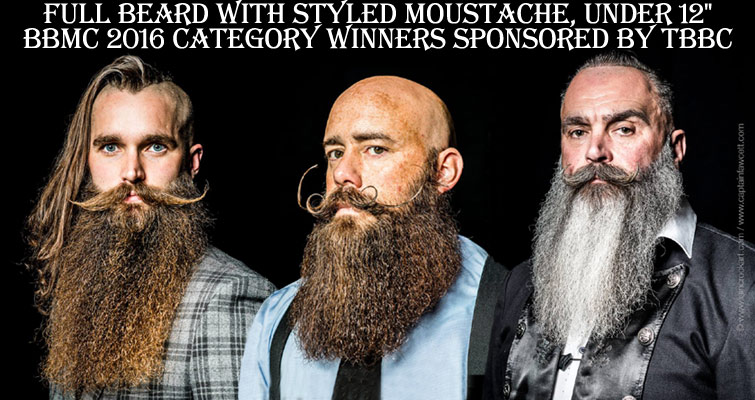 "The British Beard and Moustache Championships 2016 Full Beard with Styled Moustache, under 12"" Category Winners, Sponsored by The British Beard Club 