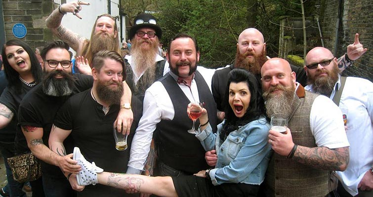 """It don't get much more Yorkshire than Holmfirth!"" The Yorkshire Beardsmen frolic at The Nook Public House on Saturday 7th May."