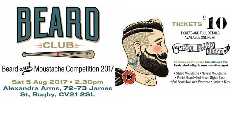 Beard Club Beard and Moustache Competition on Saturday 5th August 2017 at The Alexandra Arms, James St., Rugby, Warwickshire