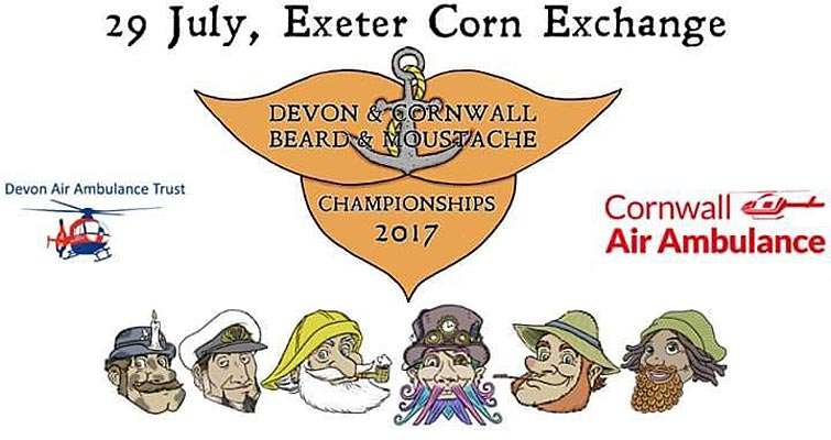 The Devon and Cornwall Beard and Moustache Championships moves to Exeter Corn Exchange on 29th July, supporting Devon Air Ambulance Trust and Cornwall Air Ambulance