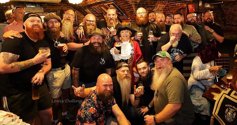 The Yorkshire Beardsmen at their August Meet in York, captured by photographer Lewis at Lendal Cellars