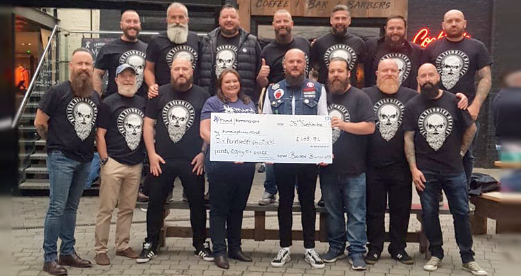 At recent meets Bearded Brummies Beard Club raised £689 for their local Mental Health Charity Birmingham Mind.