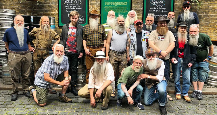 Members of The British Beard Club at Summer Beardness - The annual Summer Gathering and Sunday Lunch event of The British Beard Club held at The George Inn, Southwark, London on the 23rd June 2019.