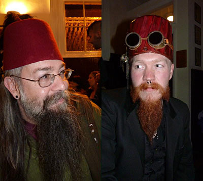 Charlie with Henry (right) sporting his mighty Steampunk fez